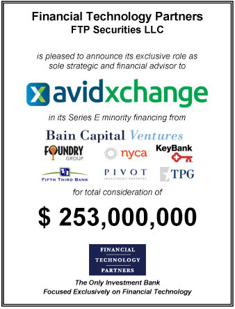 FT Partners Advises AvidXchange on its $253mm Minority Financing