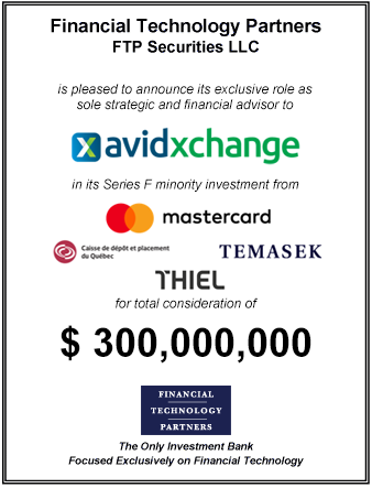 FT Partners Advises AvidXchange on its $300,000,000 Financing