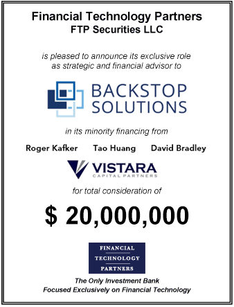 FT Partners Advises Backstop Solutions on its $20,000,000 Financing