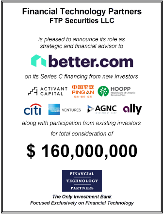 FT Partners Advises Better.com on its $160,000,000 Series C Financing