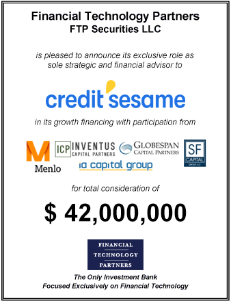 FT Partners Advises Credit Sesame on its $42,000,000 Growth Financing