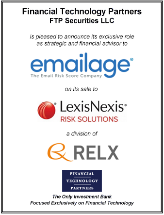 FT Partners Advises Emailage on its Sale to LexisNexis Risk Solutions, part of RELX