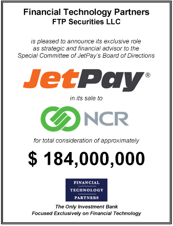FT Partners Advises JetPay on its Sale to NCR for $184,000,000