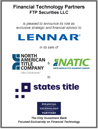 FT Partners Advises Lennar on the Sale of North American Title to States Title