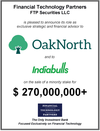 FT Partners Advises OakNorth on its $270,000,000 Secondary Sale