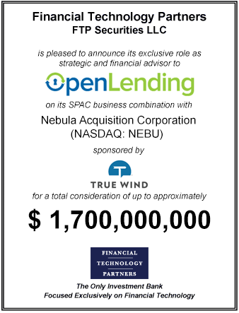 FT Partners Advises Open Lending on its $1.3 billion Merger with Nebula Acquisition Corporation