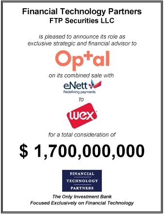 FT Partners Advises Optal on its $1.7 billion Combined Sale with eNett to WEX