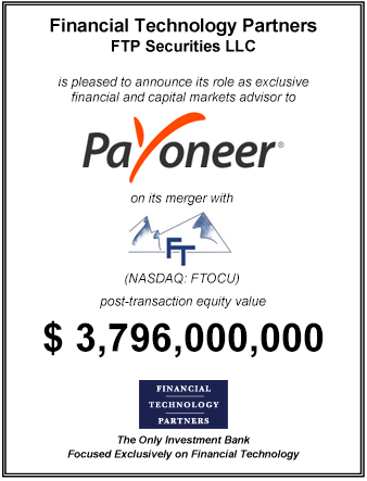 FT Partners Advises Payoneer on its $3,796,000,000 Merger with FTAC Olympus Acquisition Corporation