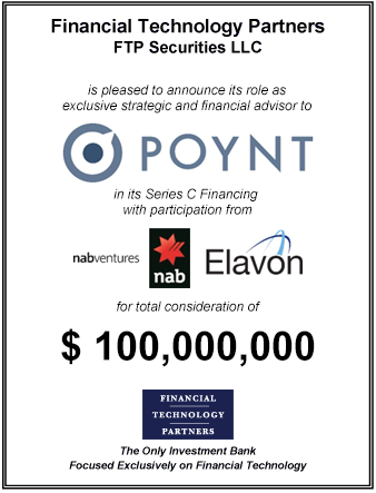 FT Partners Advises Poynt on its $100,000,000 Series C Financing