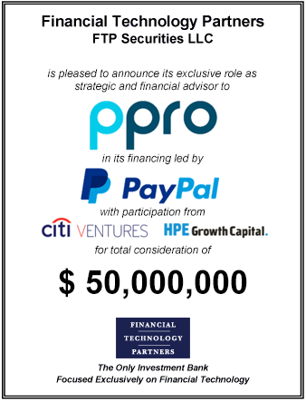 FT Partners Advises PPRO on its $50,000,000 Investment Round Led by PayPal