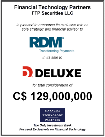 FT Partners Advises RDM on its Sale to Deluxe
