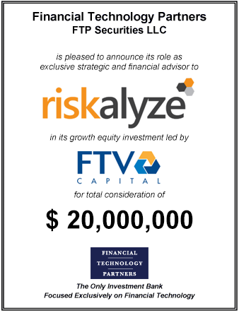 FT Partners Advises Riskalyze on its $20,000,000 Financing Led by FTV Capital
